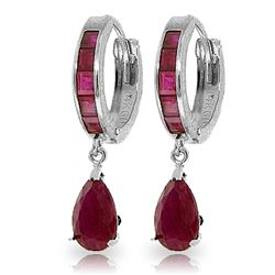 Genuine 4.8 ctw Ruby Earrings Jewelry 14KT White Gold - REF-71P5H