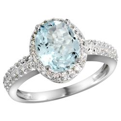 Natural 1.57 ctw Aquamarine & Diamond Engagement Ring 14K White Gold - REF-47F5N