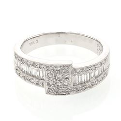 0.67 CTW Diamond Ring 18K White Gold - REF-83Y4X