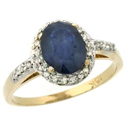 Natural 1.57 ctw Blue-sapphire & Diamond Engagement Ring 14K Yellow Gold - REF-45N2G