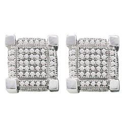 0.28 CTW Mens Pave-set Diamond 3D Cube Square Cluster Earrings 10KT White Gold - REF-19M4H