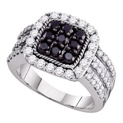 2 CTW Black Color Diamond Square Cluster Ring 10KT White Gold - REF-104H9M