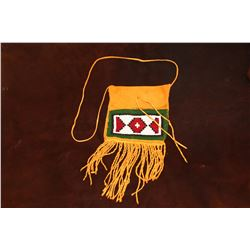 "Beaded Sioux Fringed Possibles Bag- Made By Montana Artist Jim Thomason- Carrying Strap- 13""H 7""W"
