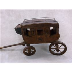 "Unmarked Miniature Stagecoach With Bucking Horse on Door- 20""L X 8""W X9.5""H"