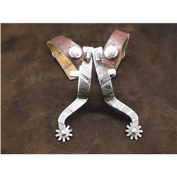 "Unmarked Silver Overlaid Spurs- .75"" Bands 3"" Shanks- 10 Point Rowels"