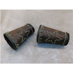 "Star Studded Cowboy Cuffs- 6.25"" Long- Broken Strap"