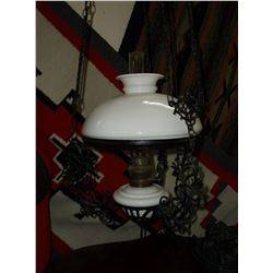 "Adjustable Hanging Oil Lamp- Wrought Iron- 47""L X 95""W"