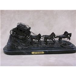"Marked ""Stagecoach"" By CM Russell Copyright ASB Bronze- 22""L X 9""H X 8.5""D"