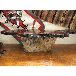 "Burl Table On Stump Base- 63""L X 16.5""H X 23""D"