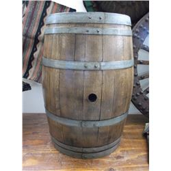 "Oak Banded Wine Barrel- Refinished- 37""H X 22.5""W"