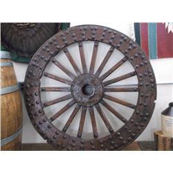 "Antique Studded Caisson Wheel- 46"""
