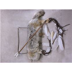 Coyote Hide Bow and Arrow Quiver- Feathers- Fringed- 2 Arrows- Sweet Grass Braid