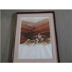 """Signed Atkinson Print- 907/950- """"Pueblo Pots""""- Frame 37""""H X 29""""W- Letter of Authenticity"""
