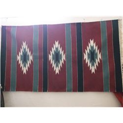 """Navajo Blanket- Fringed- Wool and Goat Hair- 66""""L X 35""""W"""