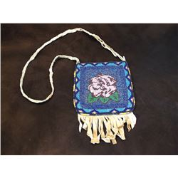 """Beaded Fringed Crow Possibles Bag- Carrying Strap- 10""""H X 7""""L"""