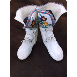 """Plateau Floral Beaded High Top Moccasins- Brain Tanned- 11""""H X 9.5""""L"""