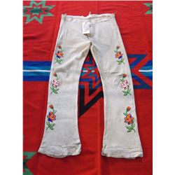 """Crow Floral Beaded Buckskin Pants From Crow Indian Reservation- Montana- 46"""" L- Patched"""