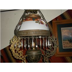 """Hand Painted Hanging Parlor Lamp- 23.5""""H X 14""""W"""