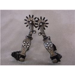 Marked Garcia Silver Inlaid Spurs- Dandy Pattern- Barrel Chap Guards- Rowel Covers- 12 Point Rowels