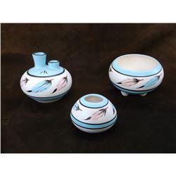Set of 3 Signed Pots