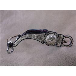 Marked B/B Silver Inlaid Bit- Arizona Cheek Spoon Mouth- Slobber Bar- Rein Chains Hangers