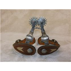 """Marked Crockett Stainless Overlaid Spurs- Chap Guards- 16 Point Rowels- 1.25"""" Bands 1.75"""" Shanks"""