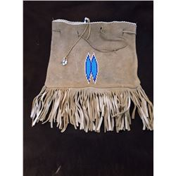 """Beaded Fringed Possibles Bag- Draw String- 14""""H X 11""""W"""