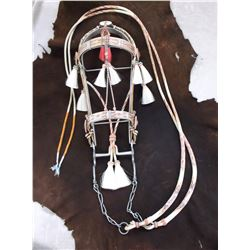 Deer Lodge Prison Hitched Horsehair Headstall- 4 Dog Rosettes- Tassels- 9 Colors- Round Reins-