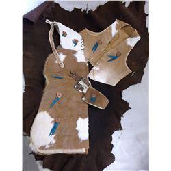 Marked Genuine S Bar S Calfskin Kids Outfit- Belt- Vest- Chaps- Leather Damage