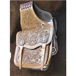 """Stamped Saddle Bags- Nickel Silver Conchos- Small Jello Molds- 10"""" X 10"""" Bags- New Condition"""