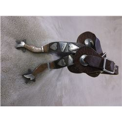 """Marked Hall Silver and Copper Overlaid Lady Legs Spurs- .75"""" Band 2.5"""" Shanks- Straps"""