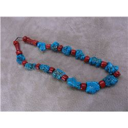 """Coral and Turquoise Necklace- 26"""""""
