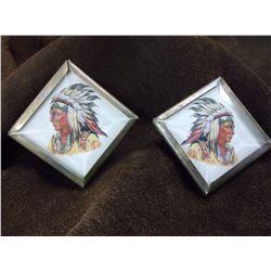"""Rare Diamond Shaped Indian Head Bridle Rosettes- 2"""""""