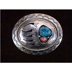 """Marked WM Sterling Turquoise and Coral Belt Buckle- 3""""W X 2.25""""H"""