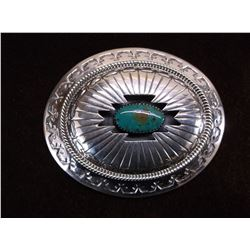 """Marked WM Sterling and Turquoise Belt Buckle 3""""W X 2.25""""H"""