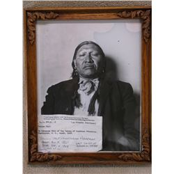 """Photo of Yellow Calf- Last Chief of Arapaho Tribe- 1861- 1938- Taken in 1908 Frame 11""""H X 9.5""""W"""