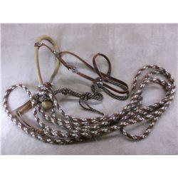 """Handmade Rawhide Bosal With Horsehair Mecate- 23"""" Horsehair Rope- Buckle Marked Tara Humara"""