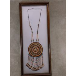 """Beaded Contemporary Necklace- 14 Beaded Drops- Frame 23"""" H X 9.5""""W"""