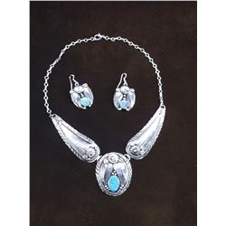 Marked Jason B Navajo Sterling and Turquoise Necklace and Matching Earrings- Feather Pattern