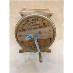 """Marked New Style White Cedar Cylinder Churn- No 1- Made In USA- 3 Gals- Works- 15""""H X 13""""W X 9.5""""D"""
