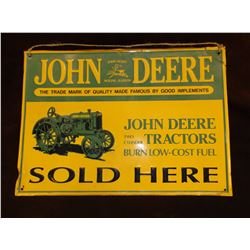"Vintage John Deere Tin Sign- 11""H X 15""W"