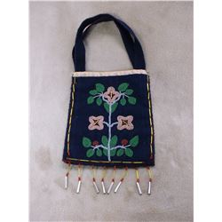 """Beaded Crow Possibles Bag- 8 drops- Carrying Straps- 12.5""""H X 8.5""""W"""