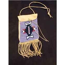 """Sioux Pattern Beaded Fringed Possibles Bag- Montana Artist Jim Thomason- Carrying Strap- 9""""H X 4""""W"""