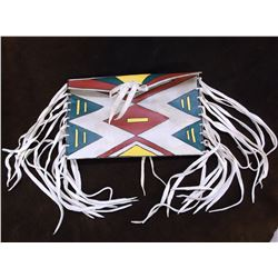 """Painted Rawhide Fringed Native Bag- 12""""W X 8.5""""H"""