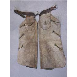 "Marked OHS Batwing Chaps- 6 Nickel Conchos- 44"" Basket Stamped Belt- 36""L"