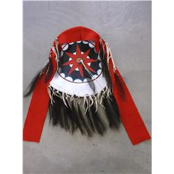 """Contemporary Native Rawhide Shield- Painted- Horsehair Drops- Shield 20"""""""
