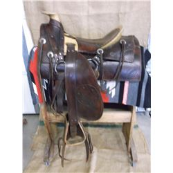 """Marked F Costanza Maker Stevensville, MT Saddle- Hand Tooled- Nickel Conchos- 15"""" Seat- Trail Model"""