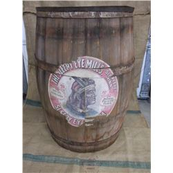 """Old Barrel With The Sleepy Eye Mills Advertisement Decal- 34""""H X 22""""W"""