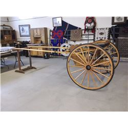 """Single Horse Sulky- Like New Condition- Steps- 46"""" Wheels- 2 Seater- Storage Stand"""