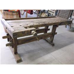 "Primitive Work Bench- 2 Wooden Vices- 80""L X 32.5""W X 32.5""H"